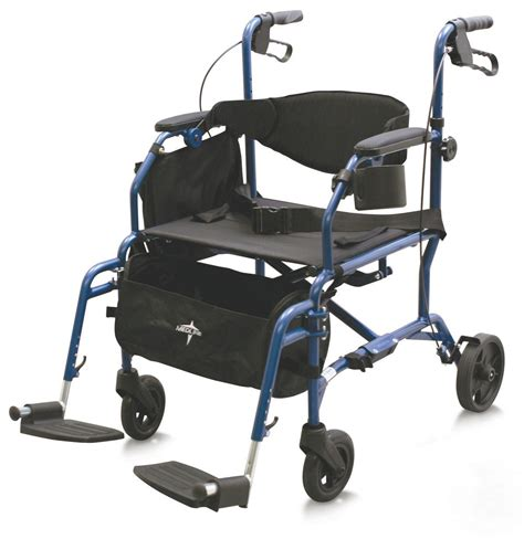 Transport Chair Reviews by Deluxe Rollator Transport Chair Blue Senior