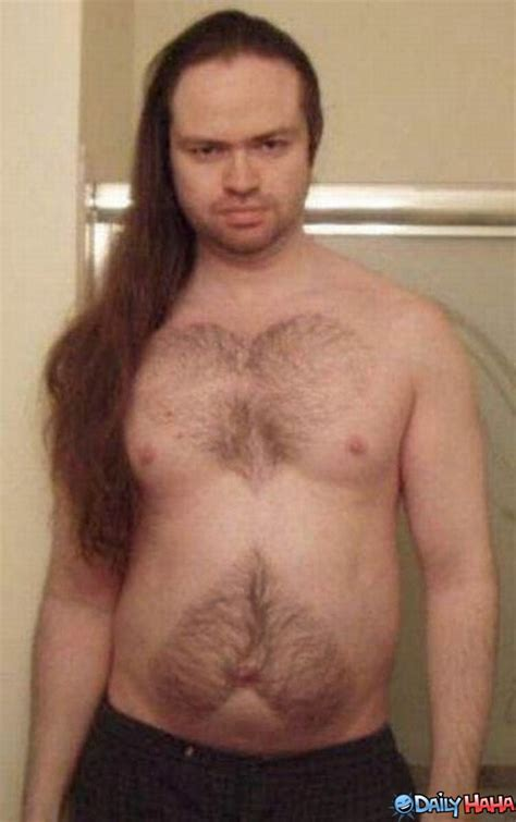 heart shape man scaping funny chest hair