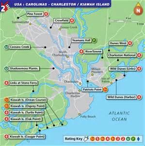 charleston and kiawah golf map with top golf courses and