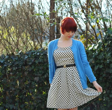 7 Neat Reasons For Wearing Forever21 by Periwinkle Blue Cardigan Shoes With A White Polka Dot Dress