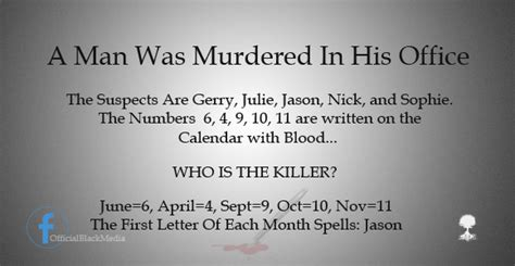Calendar Killer Riddle Riddle Solution Quot A Was Murdered In His Office Quot Ive