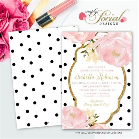pink polka dot bridal shower invitations garden peonie flowers blush pink and gold glitter black and white polka dots bridal