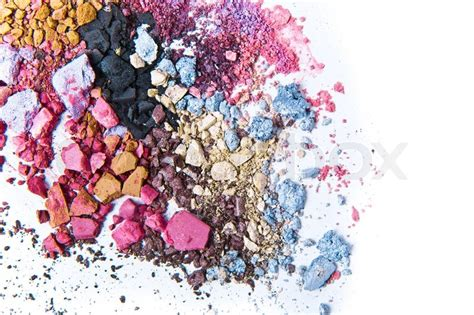 Simply Crushed Mineral Eye Colors by Crushed Eyeshadow On White Background Stock Photo