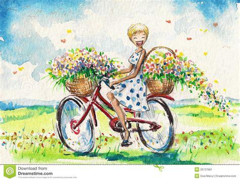 painting happy bike vrouwen op fiets stock afbeelding afbeelding 29737681