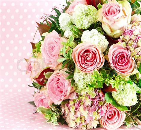 beautiful bouquet florist flower shop florist in beautiful flowers bouquet of pink roses stock photo
