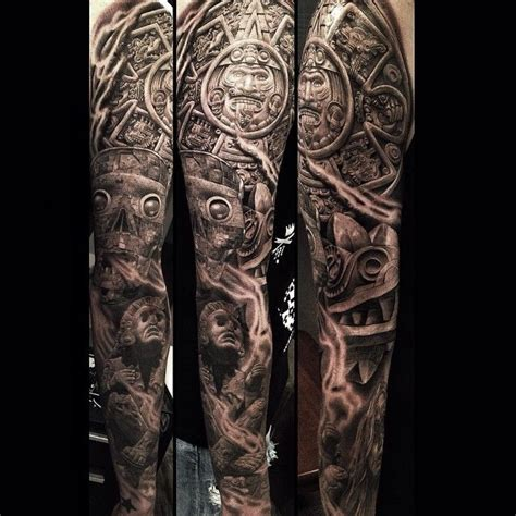 quarter sleeve aztec tattoo 138 best images about tattoos chingones on pinterest