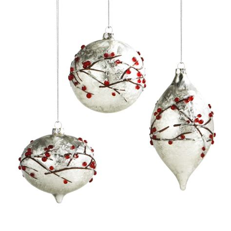 frosted berry glass christmas ornaments set of 3