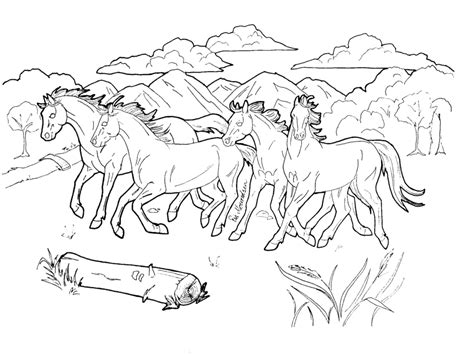 herd of horses coloring pages mountain horses lineart by hokota on deviantart
