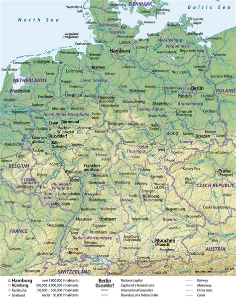 german physical map germany physical map size