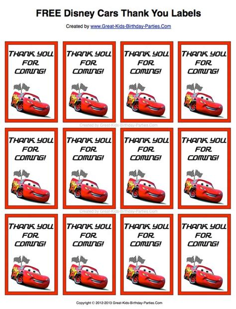 automobile thank you card template free free disney cars thank you labels print them on sticker