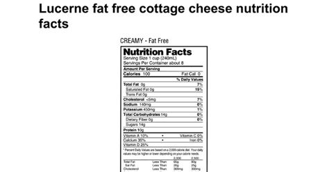 1 cottage cheese nutrition lucerne free cottage cheese nutrition facts docs
