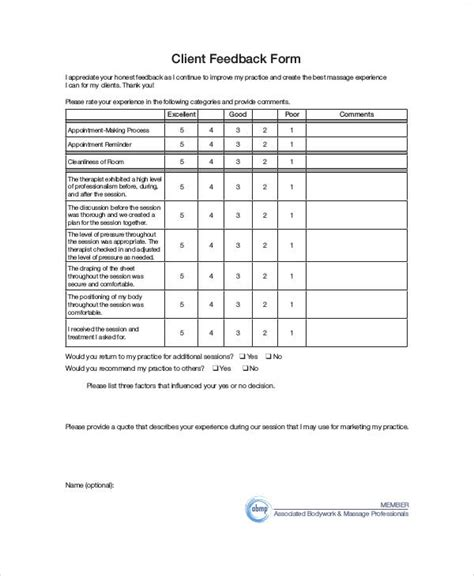 sle client feedback form 9 exles in word pdf