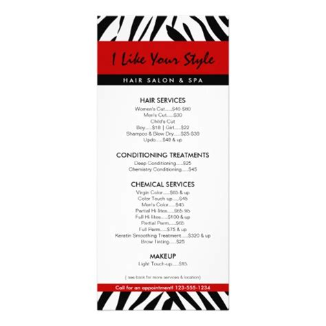 hair salon price list template free zebra print hair salon price list color rack card