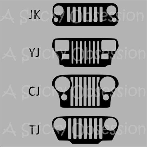 jeep grill sticker jeep wrangler grill decals sticker by astickyobsession on