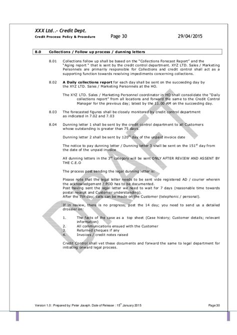 collection policy template template credit policy and related sops pdf 1