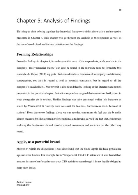 dissertation findings chapter aminul hoque dissertation impact of csr on brand image