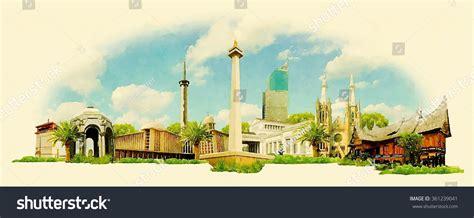 search photos panorama jakarta vector watercolor panoramic jakarta city illustration