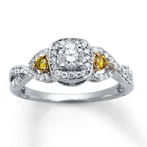 yellow white diamonds 1 2 ct tw ring 10k two tone gold