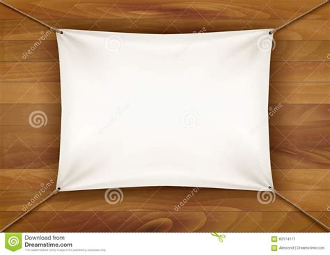 white cloth banner with text space on wooden background stock vector image 60174171