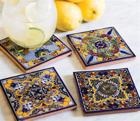Handmade Tile Coasters - moroccan midnight handmade tile coaster set traditional