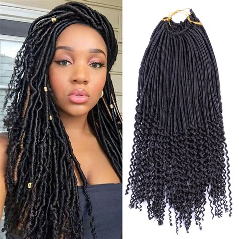 africans braiding hair and curled at the end 1pcs crochet hairstyles faux locs curly ends dreadlock