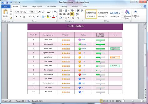 Status Table Templates For Word Microsoft Table Templates