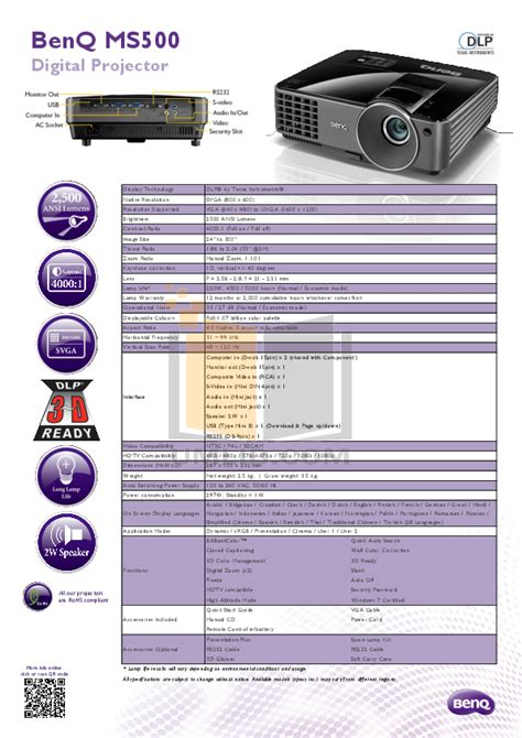 Proyektor Benq Ms502p free pdf for benq ms500 projector manual