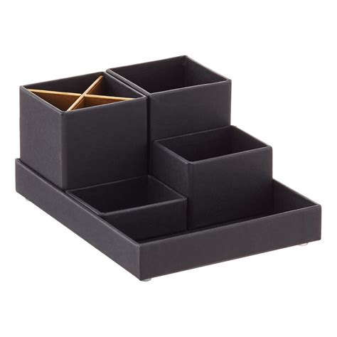 Desk Top Organizer Bigso Black Gold Stockholm Desktop Organizer The Container Store