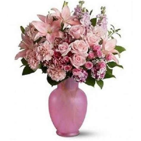 10 pink carnations 10 pink roses 3 pink lilies in vase