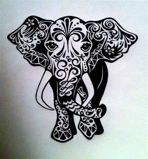elephant tattoo white ink custom elephant ink drawing black white commissioned by