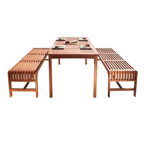 wood patio dining set vifah renaissance 6 wood rectangle outdoor dining