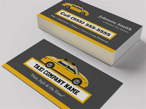 cab driver business card template licensed cap driver chauffeur yellow taxi business card