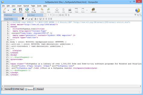 kompozer web design html editor kompozer download