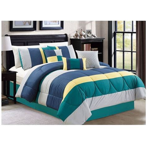 7 pc queen king luxury comforter set green teal blue