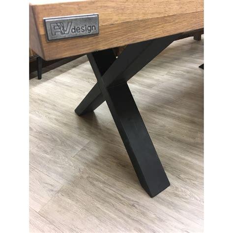table repas pieds en x m 233 tal noir plateau ch 234 ne couleur