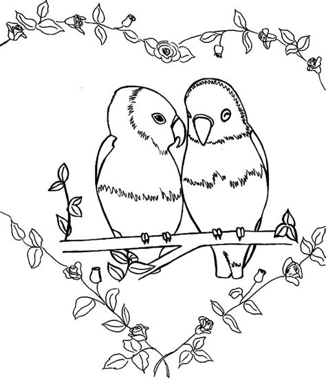 coloring pages love birds love birds standing at fence of love coloring pages