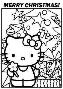 Two christmas coloring pages with hello kitty by the christmas tree