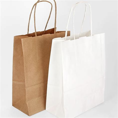 Paper Craft Bags - 5 twist handle ribbed kraft paper gift bags 2 colours