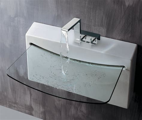 designer bathroom sinks wall mounted porcelain and clear glass sink from lacava