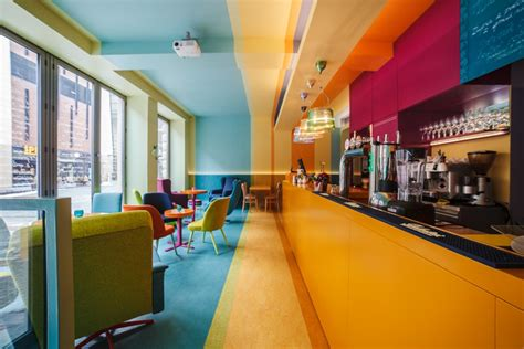 12 colorful interiors by sig bergamin architecture striking colorful interior of cafein bistro by kolorama