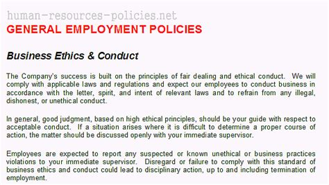business ethics policy template sle human resources policies sle procedures for small business powered by