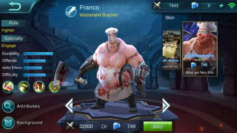 franco frozen warrior review mobile legends bang bang