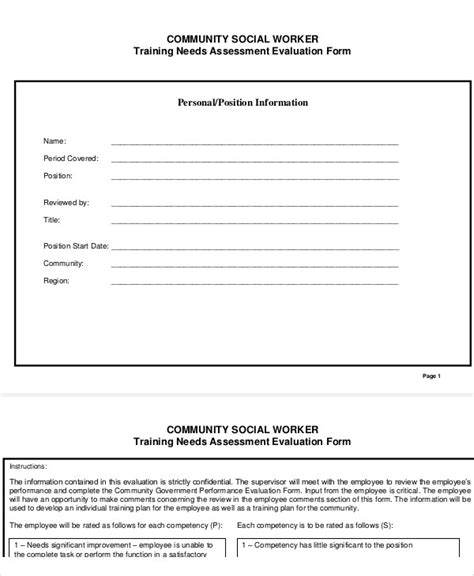7 Social Work Assessment Forms Sle Templates Social Work Assessment Template