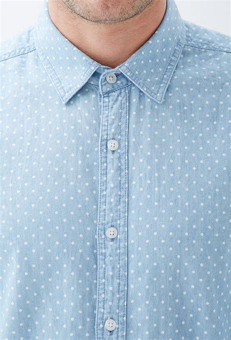 mens light chambray shirt lyst forever 21 polka dot chambray shirt in blue for men