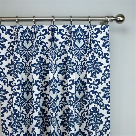 Navy And White Patterned Curtains Navy Blue White Cecelia Damask Modern Floral Curtains Pinch