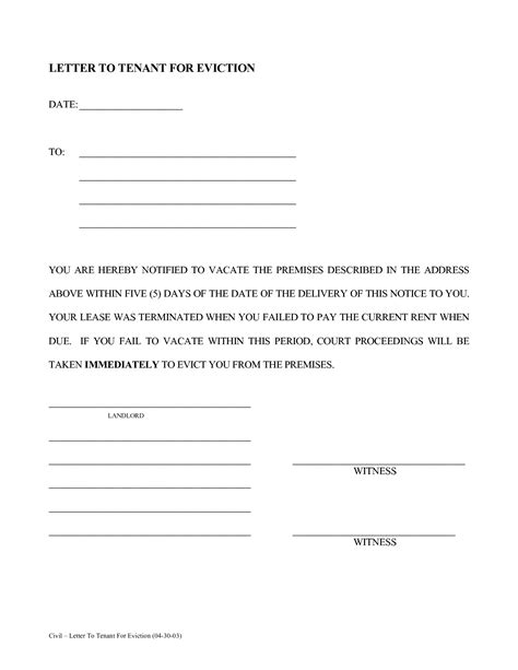 best photos of sle eviction notice letter template