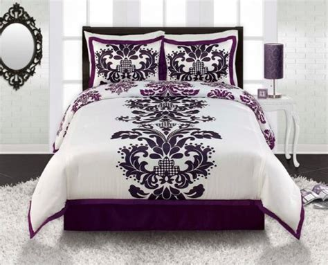 black white and purple bedroom low price royal purple white black damask comforter sham
