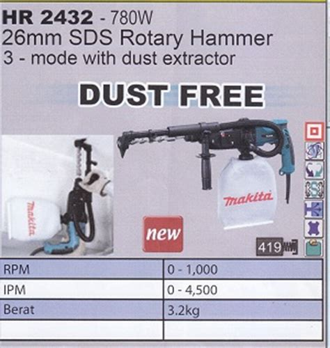 Mesin Bor Makita Rotary Hammer Drill Hr 2445 product of power tools perkakas tangan supplier