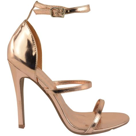 Fladeo Heels Gold No 39 womens gold barely there high heel