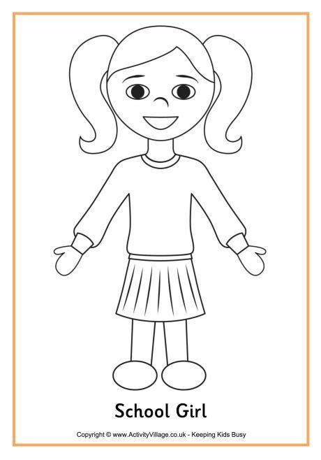 printable boy  girl patterns school girl colouring